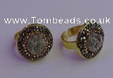 NGR2145 20mm - 22mm coin plated druzy agate gemstone rings